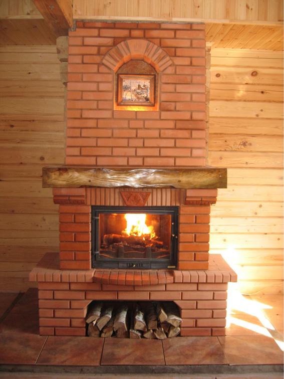 Дровяные камины в деревянном доме барбекю-комплексы