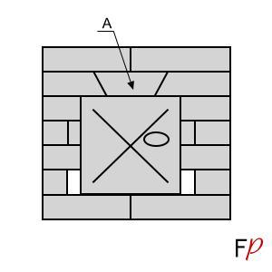 Схема установки замкового кирпича над дверцей печи