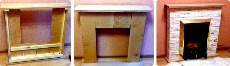 Установка деревянного камина