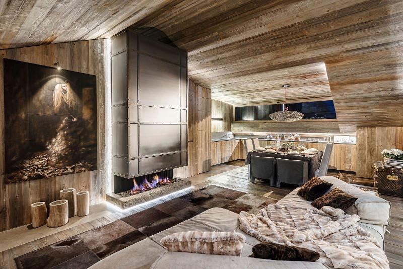 шале стиль каминный зал альпийского дома